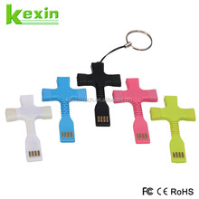 Flexible Keyring Mobile Data Cable Portable Short 2in1 USB Cable /Mini USB Charger