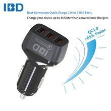 IBD wholesale QC3.0 mobile phone accessories alibaba 3 port usb speed car charger for android