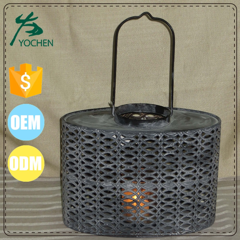 oriental old looking iron metal lantern and candle stand