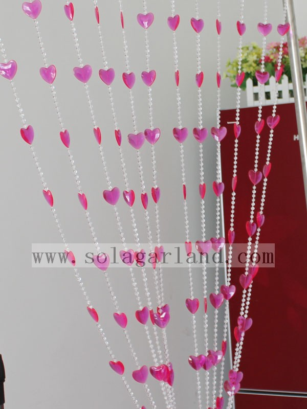 6 MM +26*29 MM Hot Selling Hanging Lovely Heart Shape Acrylic Beaded String Door Curtains For Room Divider Decoration