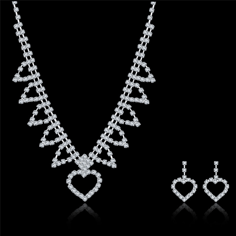 2016 New style fashion Indian bridal jewelry sets crystal earrings neckalce sets AS-013 Moonso