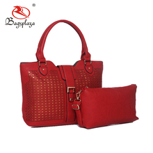 Alibaba ladies wallet hand set bag wine red pu leather bag pouches and tote bag
