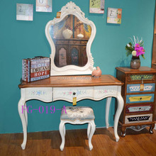 Dressing table Antique American Style Solid Wood Furniture Hand Painting bedroom Cabinet