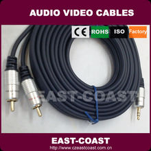 Metal connector 2 rca to 3.5mm audio cable