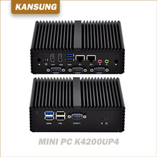 Cheap Dual LAN 4 COM 2 HD Video Ports 6 USB 12V Watch Dog Core i5-4200U Dual Core Ubuntu Fanless X86 Mini PC