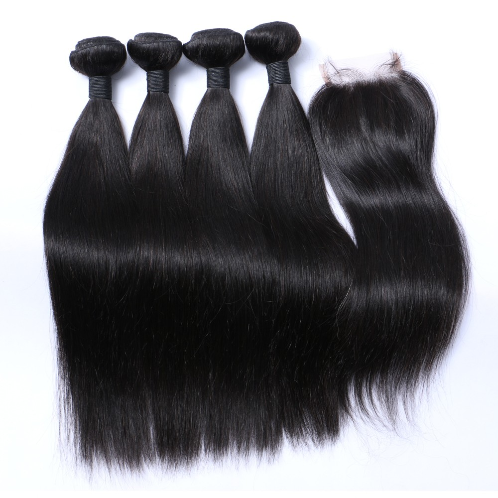 8-30 inch unprocessed virgin malaysian hair human hair bundles with lace closure