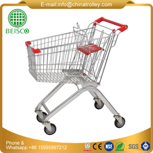 Trade Assurance High Quality Steel Bar Metal Supermarket cart, four wheeled shopping trolley,shopping trolleys on wheels