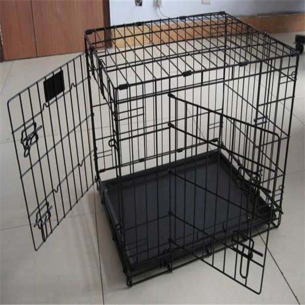 Metal Dog Crate Two Doors Kennel Wire Cage