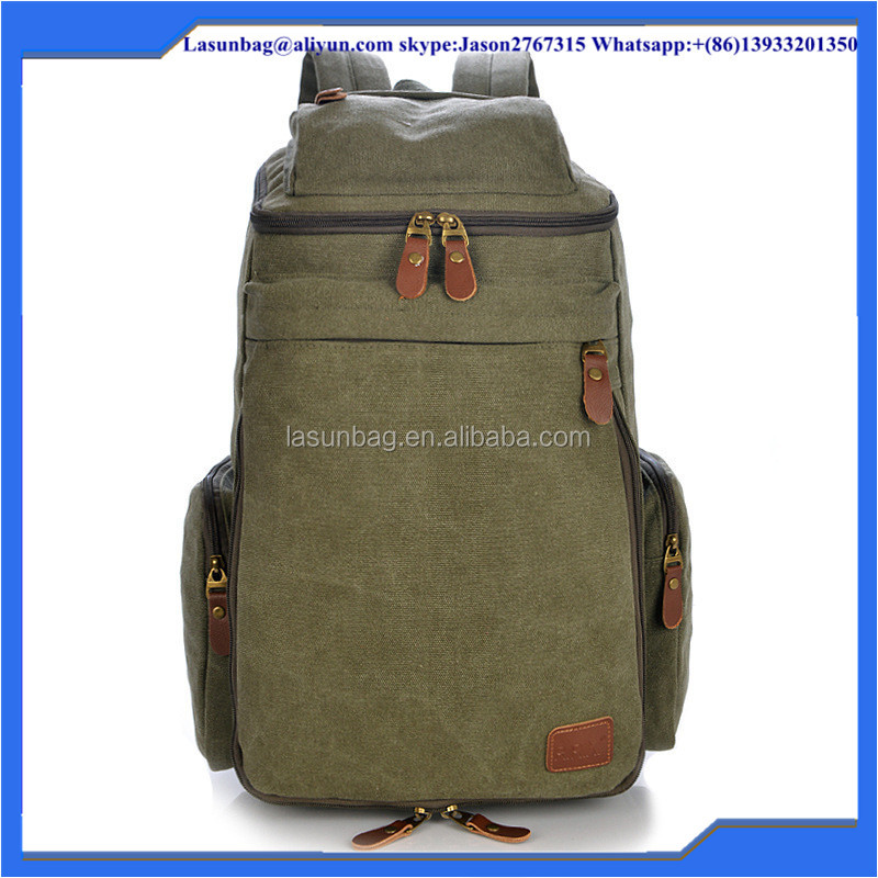 Classic Vintage Waxed Canvas Hiking Backpack Sports Backpacks