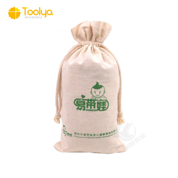 Cotton canvas fabric muslin drawstring bag with custom logo printed
