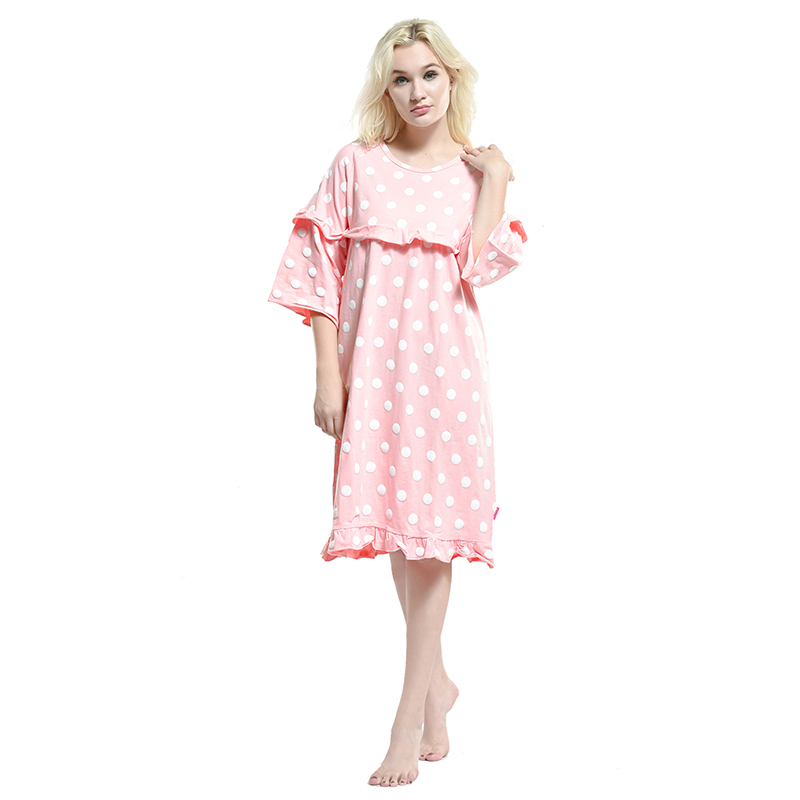 Cotton Female Nightgown Ladies Long Pattern Night Dress