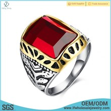 Fashion designs pakistani men wedding stone ruby stainless steel finger rings