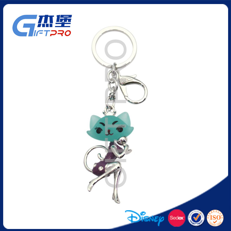 Promotional Gift High Quality Crystal Cat shape Keyring
