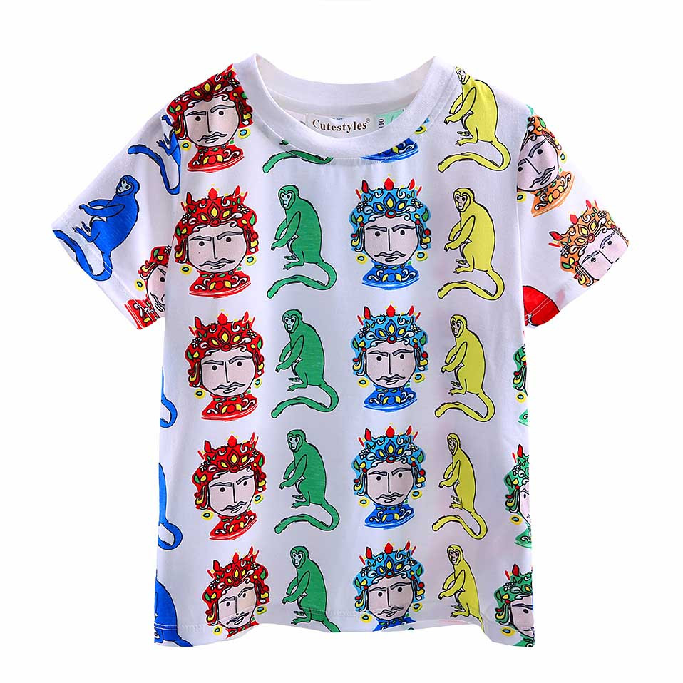 2016 Newest Fashion Children Tops With Cartoon Printed Boy Tshirt Kids Clothes BT90315-9L