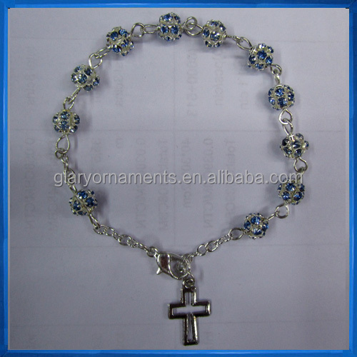 One Decade Rosary Chaplet with Blue Rhinestone,Prayer Rosary Bracelet
