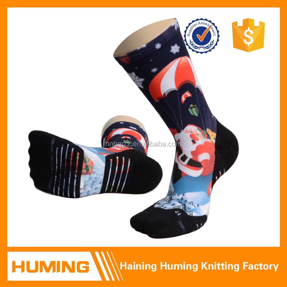China factory 3D Printing Colorful Pattern Cushioned Crew Cycling Sport Socks