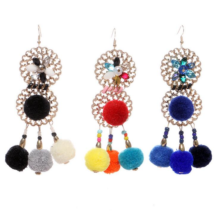 Cheap factory price wholesale women fashion costume jewelry ball dangle earrings HJ2280