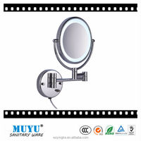 led light high-end brass wall mounted folding cosmetic bathroom mirror