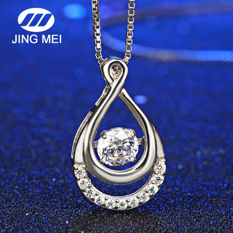 Wholesale necklace design 925 silver simple dancing stone <strong>pendant</strong>