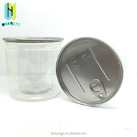 PET cylinder transparent plastic jars food containers with aluminum pull-ring lid