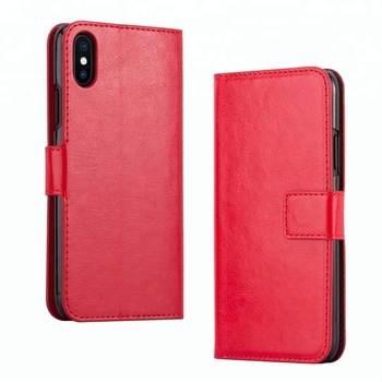 Retro PU Leather Magnetic Clip Wallet Flip Cover Phone Case For iPhone X XS Max