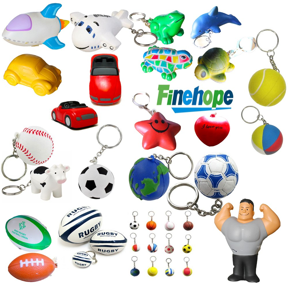 Customize Polyurethane foam OEM 3d rubber toy pu ball shape stress ball keychain
