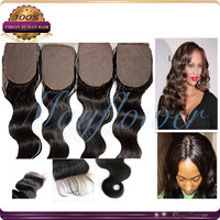 "10"" 3.5*4 silk base closure virgin Brazilian hair body wave natural black color hidden knots 8A grade medium brown silk scalp"