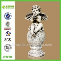 Stone Sitting Figurine Wing Garden Resin Angel Statue