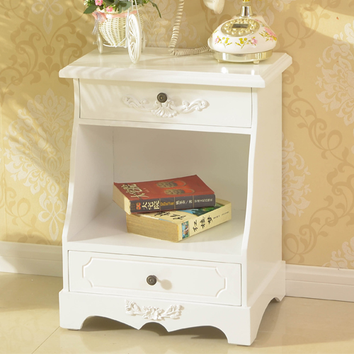 Fashion White Wooden Bedside Cabinet Customized