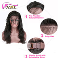XBLHAIR Natural Hairline Body Wave Brazilian Remy Human Hair Pre Plucked 360 Lace Frontal Closure with Baby Hair