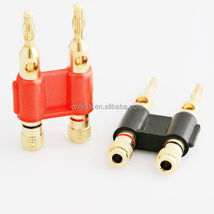 Gold plated 4mm banana plug connectors for speaker wire