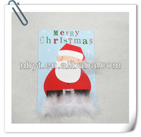 15 handmade holiday cards with blue envelope and velvet application made in china