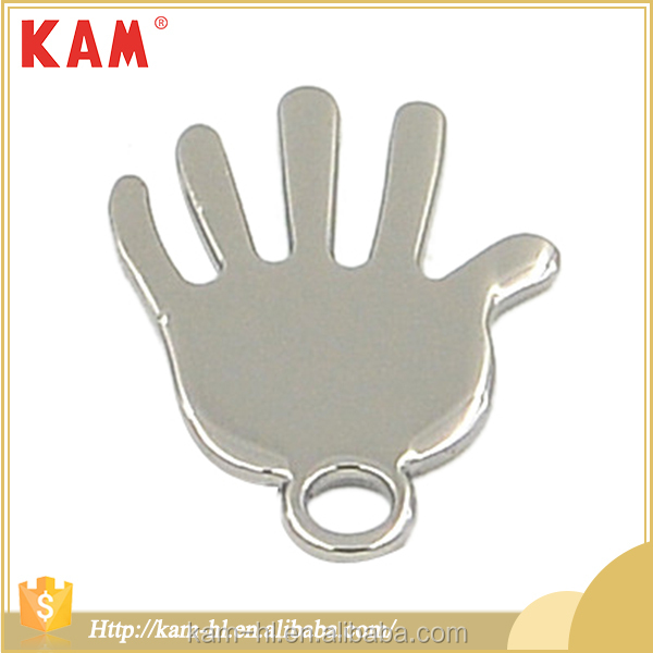 China custom cheap palm shape metal nickel cute zipper slider for kids