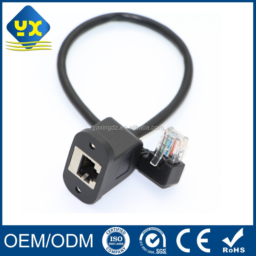 Ethernet Patch Cable Left Angle RJ45 Male to RJ45 Female Panel Mount NETWORK EXTENSION CABLE 15CM