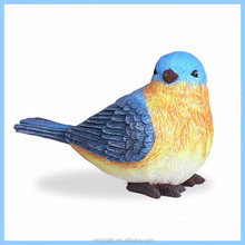 Wholesale small blue table top decoration resin little bird figurine for gift