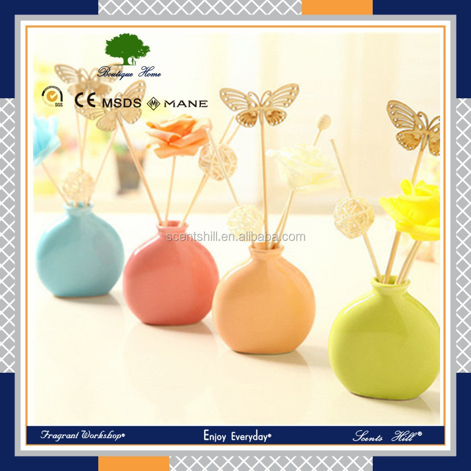30ml business idea corporate gifts Home Reed Diffuser with decorative glass bottle and rattan stick & sola flower