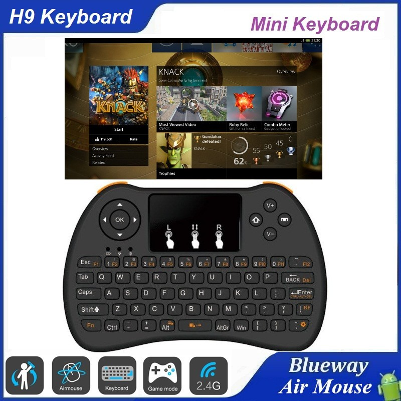 2016 New Arriving Wirelesss Multimedia Gaming Keyboard H9, Gaming Keyboard And Mouse for Computer PC Android Tv Box