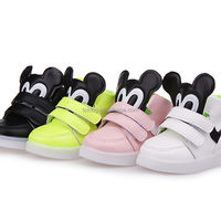 Kids Rubber Minnie LED Light Up Sports Shoes Sneakers with Buckle Velcro