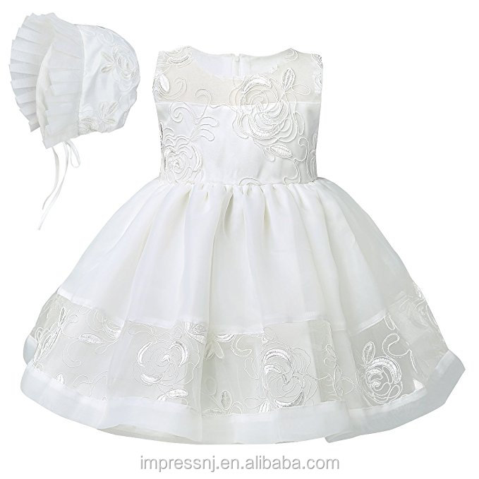 Baby Girls Satin Floral Embroidered Dress Gown Outfit Christening Baptism Dress