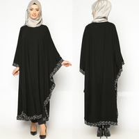 Front closed beaded hem bat wing long sleeves dubai abaya wholesale