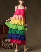 women ankle length sleeveless wholesale dress adult spaghetti strap dress plus size rainbow dress colorful