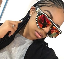 New brand design custom sunglasses Pearl diamond inlay women glasses Oversized 5719