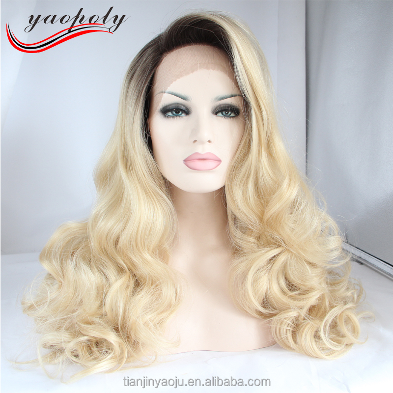 China factory direct sales real pictures 1B/613# black to blonde color curly synthetic lace front wigs for sexy ladies