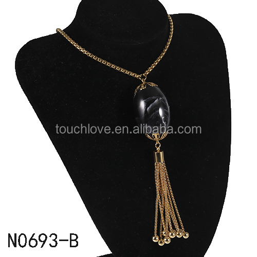 America hot selling fashion women design jewelry big beads gold long chain tassel style necklace