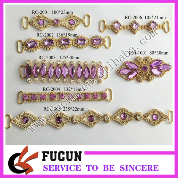 2017 Hot Sale!high Quality Various Styles color Rhinestone Bikini Connectors For Swimwear decoration