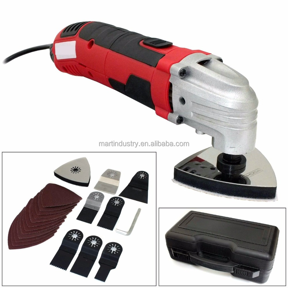 300W 21 Piece Oscillating Variable Speed Multi Function Tool Detail Sander, Cutting & Scraping Power Tool + Carry Case - German