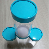 2016 Wholesale Clear Cylinder Package Box with Paper Lids For Food Packaging