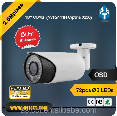 Metal housing 1080P AHD Camera IR 80m bullet Camera support ip66 2.0Megapixels cctv camera osd menu control over coaxial cable