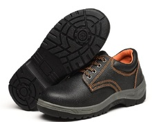 wholesale cow leather embossed laced construction work shoes