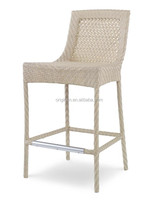 Light color plastic rattan woven outdoor bistro sitting furniture beach kitchen bar stool